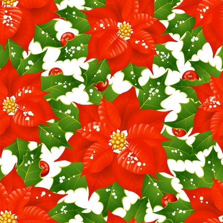 poinsettia: Christmas flowers seamless background Illustration