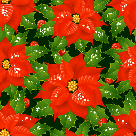 Christmas flowers seamless background Vector