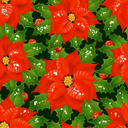 Kerst mis bloemen naadloze achtergrond