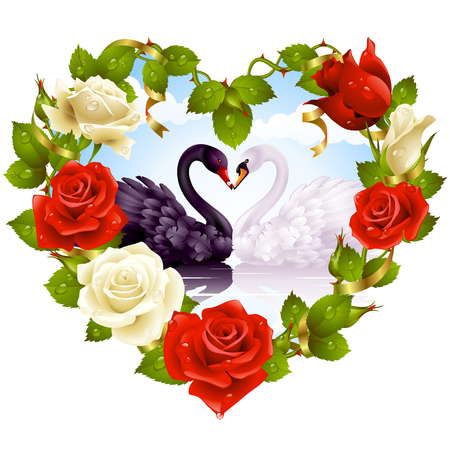 Red Rose frame in the shape of heart and couple swans Stock Vector - 8067328