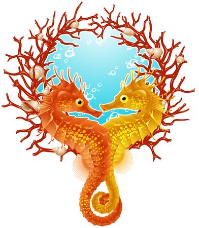 Seahorse love frame Vector