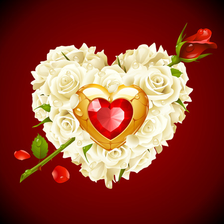 Red Roses and golden jewel in the shape of heart with arrow
