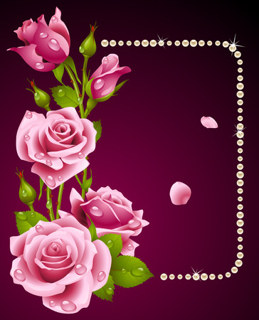 rose and pearls frame. Design element. Vector