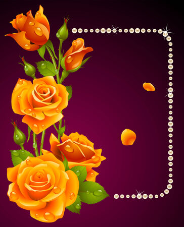 pearls and threads: orange rose and pearls frame. Design element.