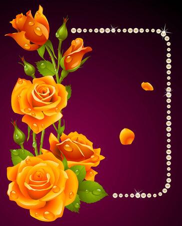 orange rose and pearls frame. Design element. Stock Vector - 8140895