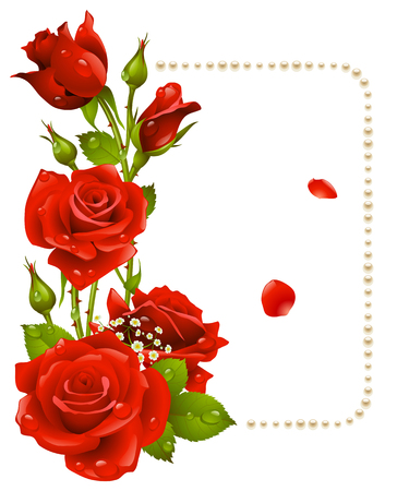 rose: red rose and pearls frame. Design element.