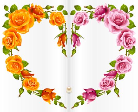 Rose frame in the shape of heart Vector