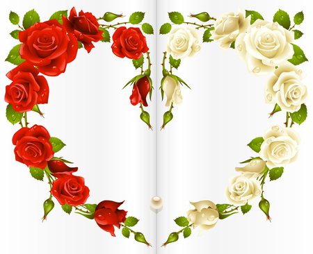 Red and white Rose frame in the shape of heart Vector