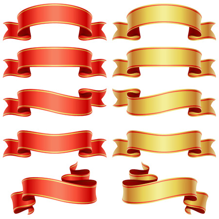Red and golden banners set Stock Vector - 8140884