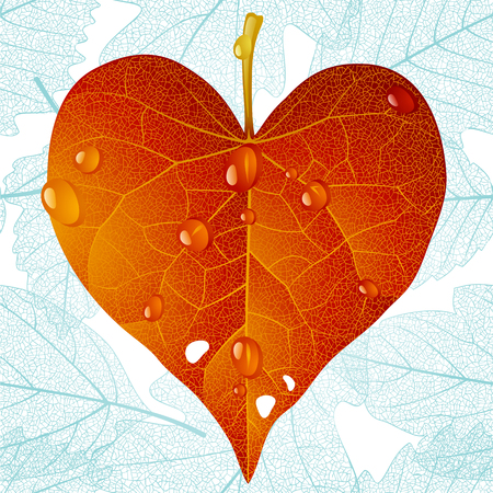 Autumnal heart and seamless leaf background Vector