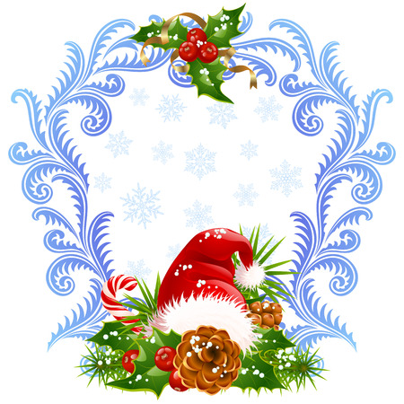 Christmas and New Year greeting card 4. Santa hat, candy cane and holly Vector