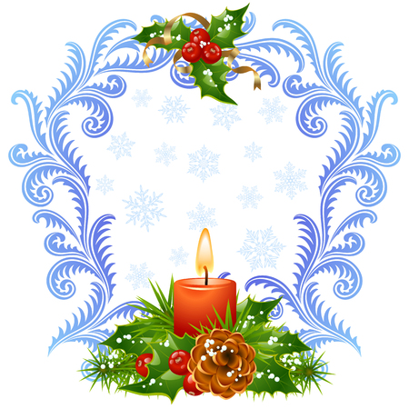 Christmas and New Year greeting card 3. Red candle and holly Vector