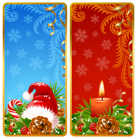 cane: Christmas vertical banners set 2. Santa hat and candle