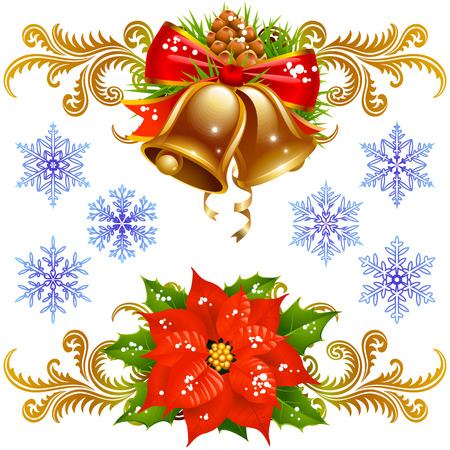 Christmas design elements set 2. Golden bells, poinsettia and snowflake Vector