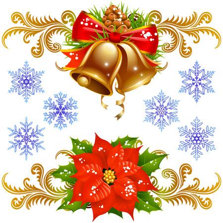 fir cone: Elementos de dise�o de Navidad establecen 2. Campanas de oro, Euphorbia pulcherrima y copo de nieve  Vectores