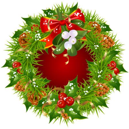 fir cone: Marco de guirnalda de Navidad aislados sobre fondo blanco