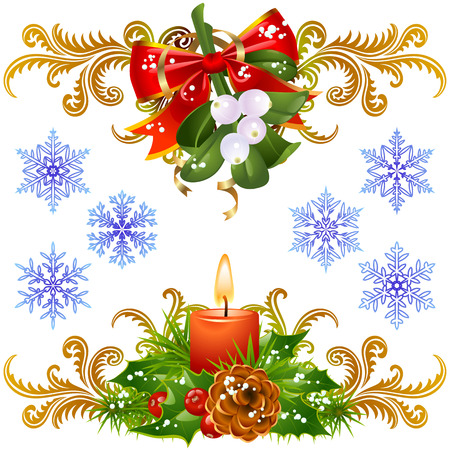 mistletoe: Christmas design elements set 3. Mistletoe, candle and snowflake