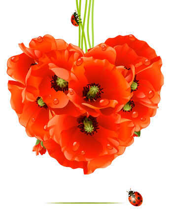 Floral love card. poppy heart Vector