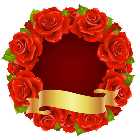 red Rose Frame in the shape of round Vector