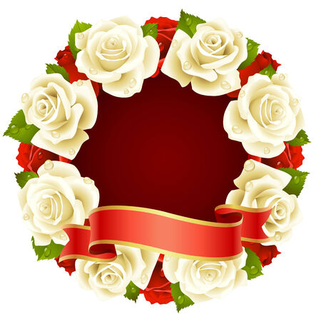 white Rose Frame in the shape of round Vector