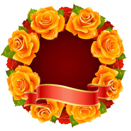 orange rose: orange Rose Frame in the shape of round Illustration