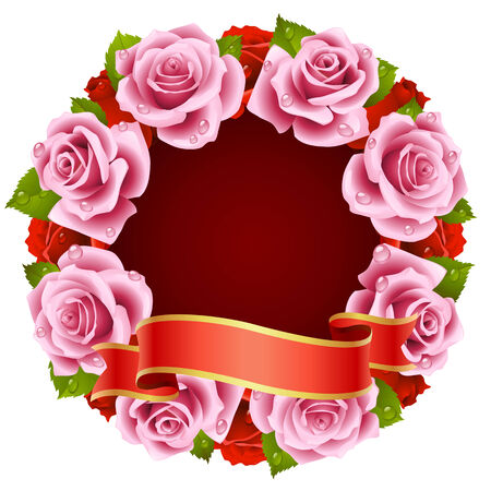 pink Rose Frame in the shape of round Stock Vector - 8202470