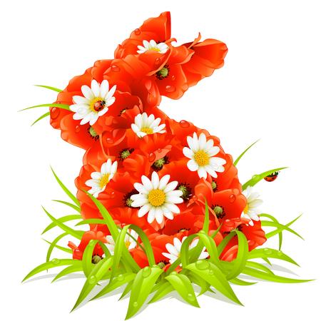 lapin sur fond blanc: au printemps fleurs en forme de lapin de Pâques  Illustration