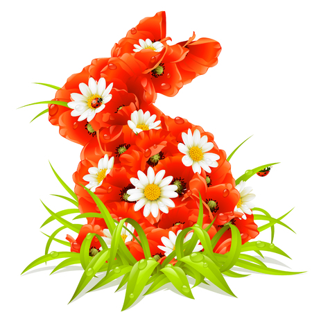 easter card: spring flowers in the shape of Easter Rabbit