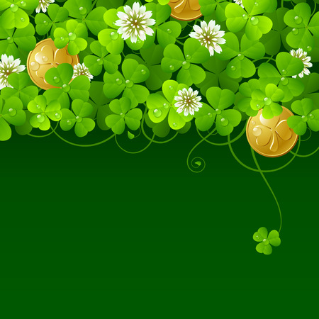 Patrick's Day background: Clover glade and golden coins Stock Vector - 8202465