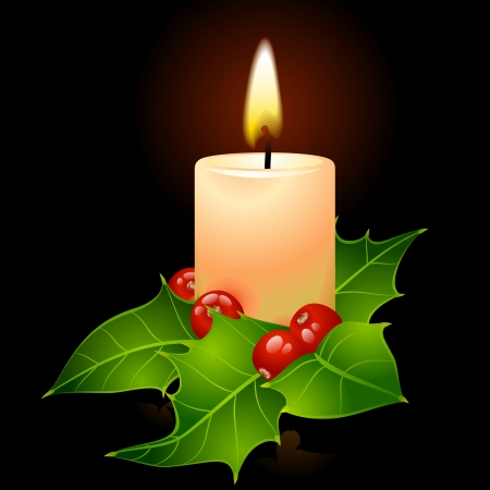 Christmas candle and holly