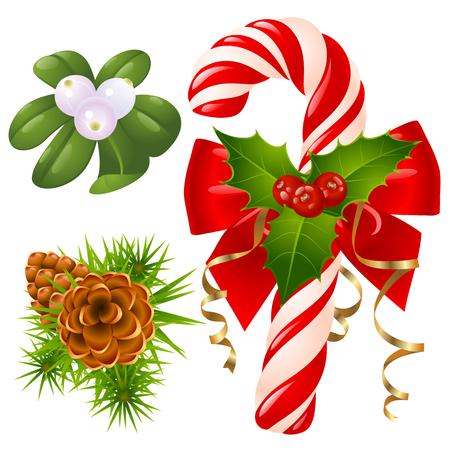 Candy cane, christmas tree, mistletoe and holly Vector