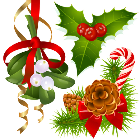 yule tide: Christmas tree, mistletoe and holly