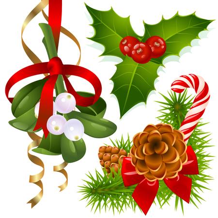 new year s eve: Christmas tree, mistletoe and holly