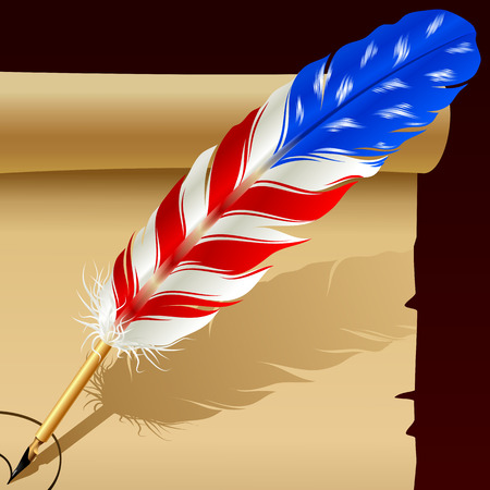 Feather pen in the colors of American flag Vector