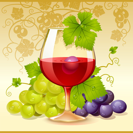 wine glass and grape Stock Vector - 8202509
