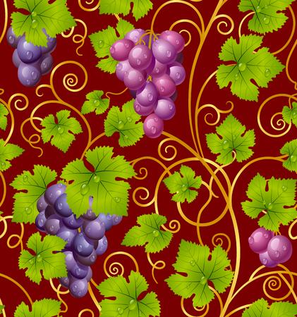 Seamless grape pattern 01 Stock Vector - 8202508