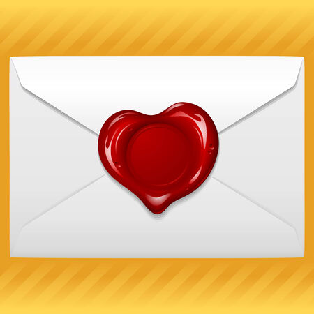 Envelope with wax seal in the shape of heart Illustration