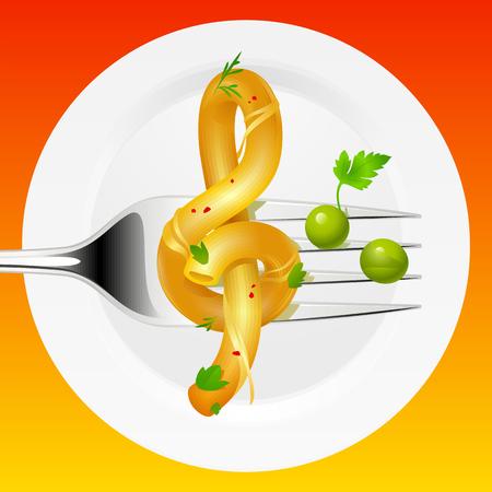 plato pasta: composici�n culinario: espaguetis en forma de clave de agudos y guisantes en forma de notas musicales