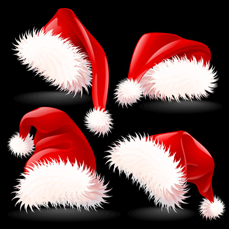 Four Santas Hats Vector