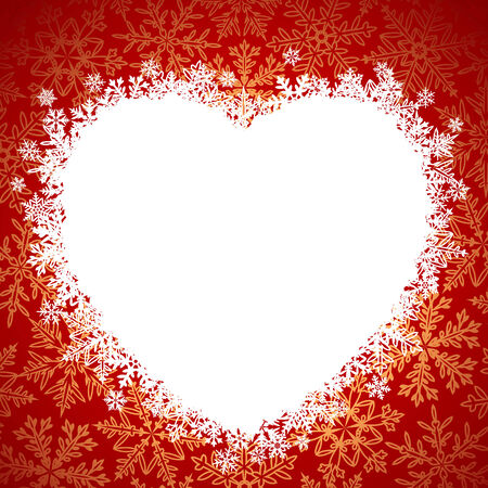 Snow frame in the shape of heart Stock Vector - 8202515