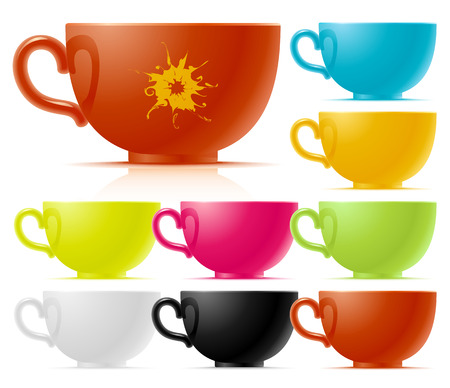 threateningly: Set of multi-colored of tea cup