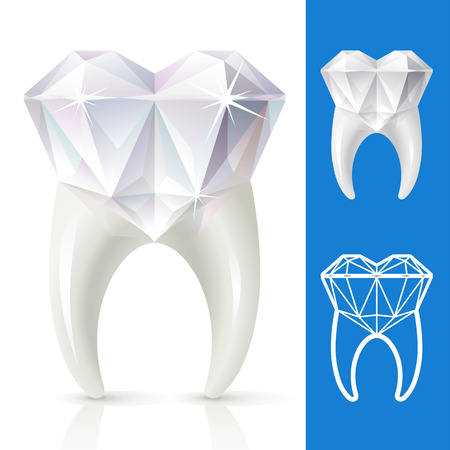 tooth in the shape of diamond Vector