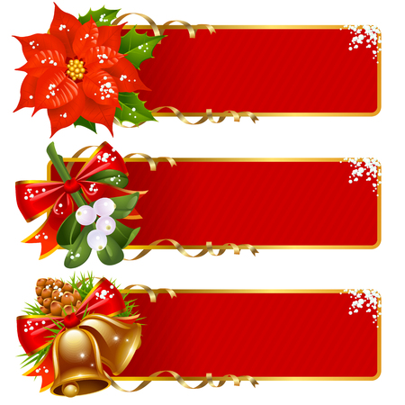 mistletoe: Christmas horizontal background set
