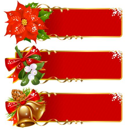 muerdago: Establece el fondo horizontal de Navidad  Vectores