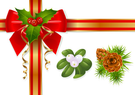 prickles: Christmas decoration: mistletoe, holly, pinecones and ribbons
