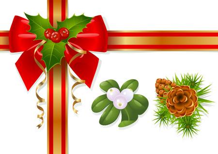 prickles: Decorazioni di Natale: vischio, agrifoglio, pinecones e nastri