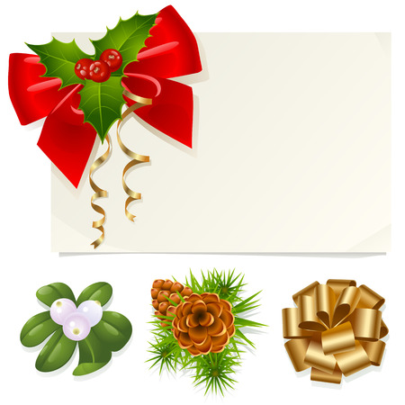 Christmas decoration: mistletoe, holly, pinecones and ribbons Vector