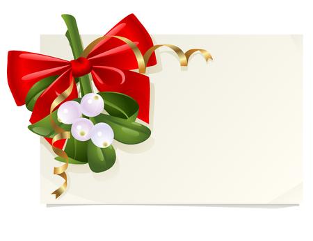 muerdago: Tarjeta de Navidad con mont�n de mu�rdago y cintas  Vectores
