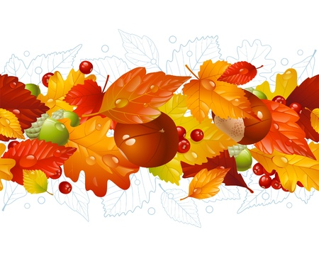 autumn leaf frame: Autumnal seamless horizontal background