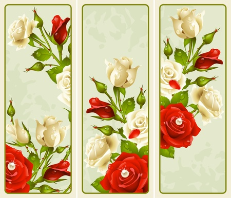 petals:  set of Rose vertical banners